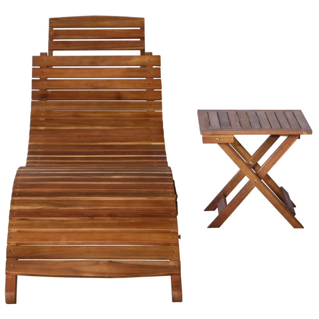 Sunlounger with Table Solid Acacia Wood Brown 2