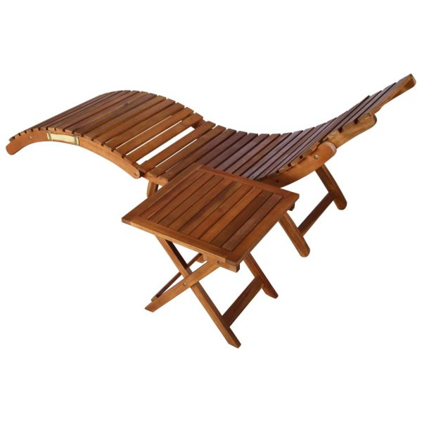 Sunlounger with Table Solid Acacia Wood Brown 4