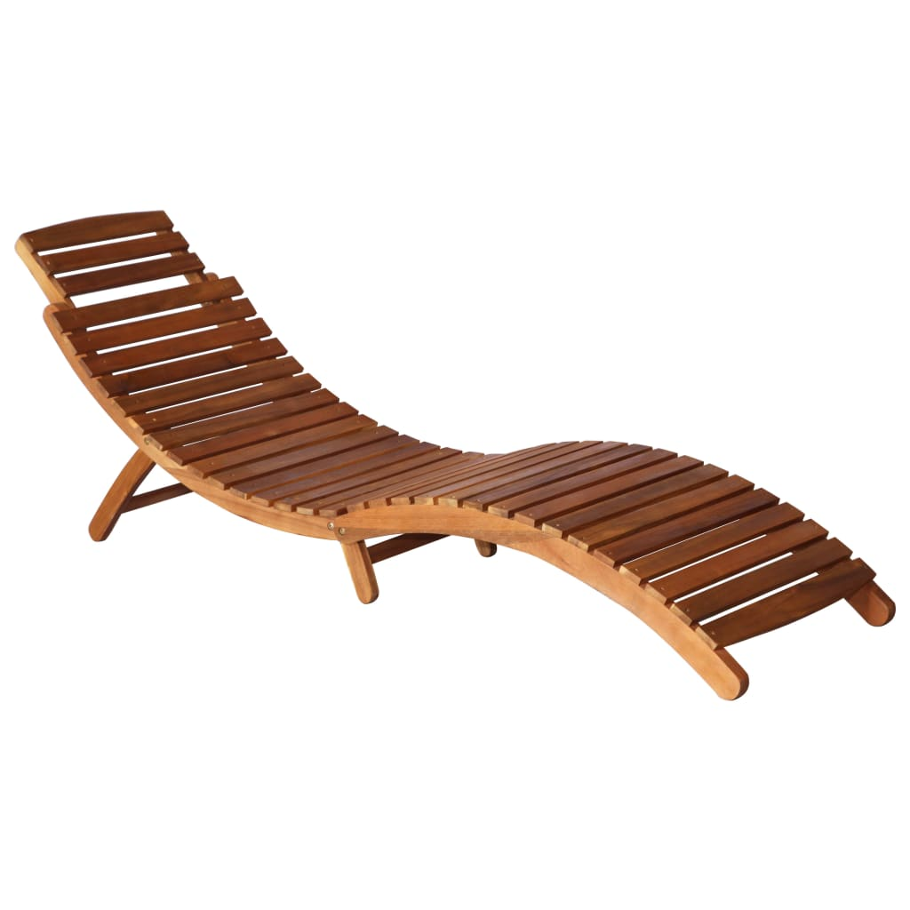 Sunlounger with Table Solid Acacia Wood Brown 5