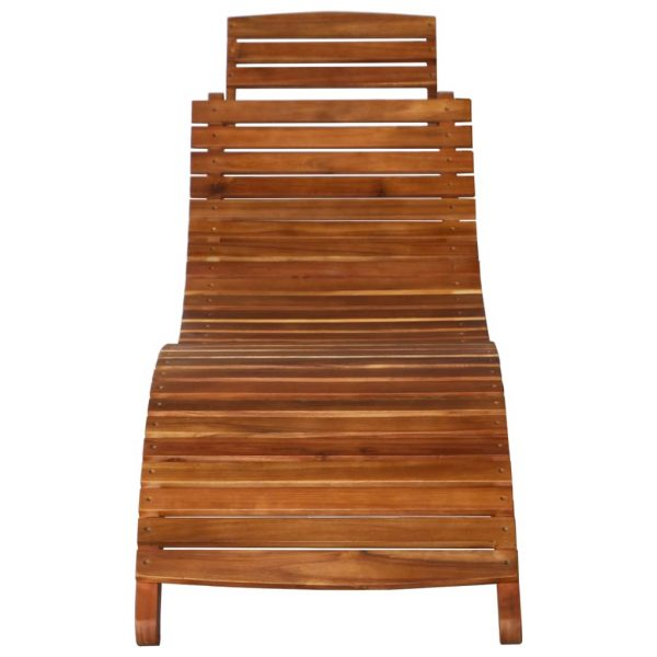 Sunlounger with Table Solid Acacia Wood Brown 6