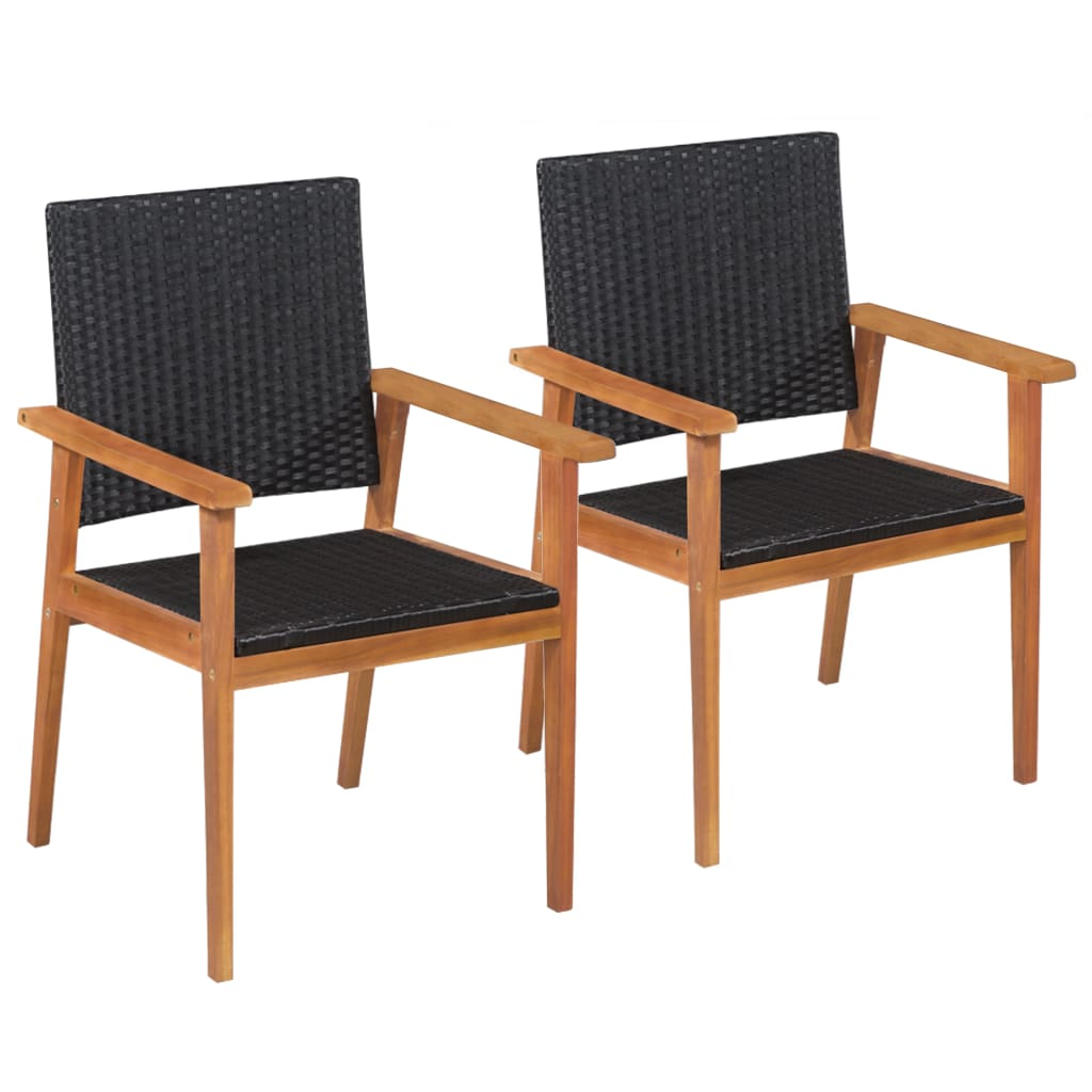 Outdoor Chairs 2 pcs Poly Rattan Black and Brown
