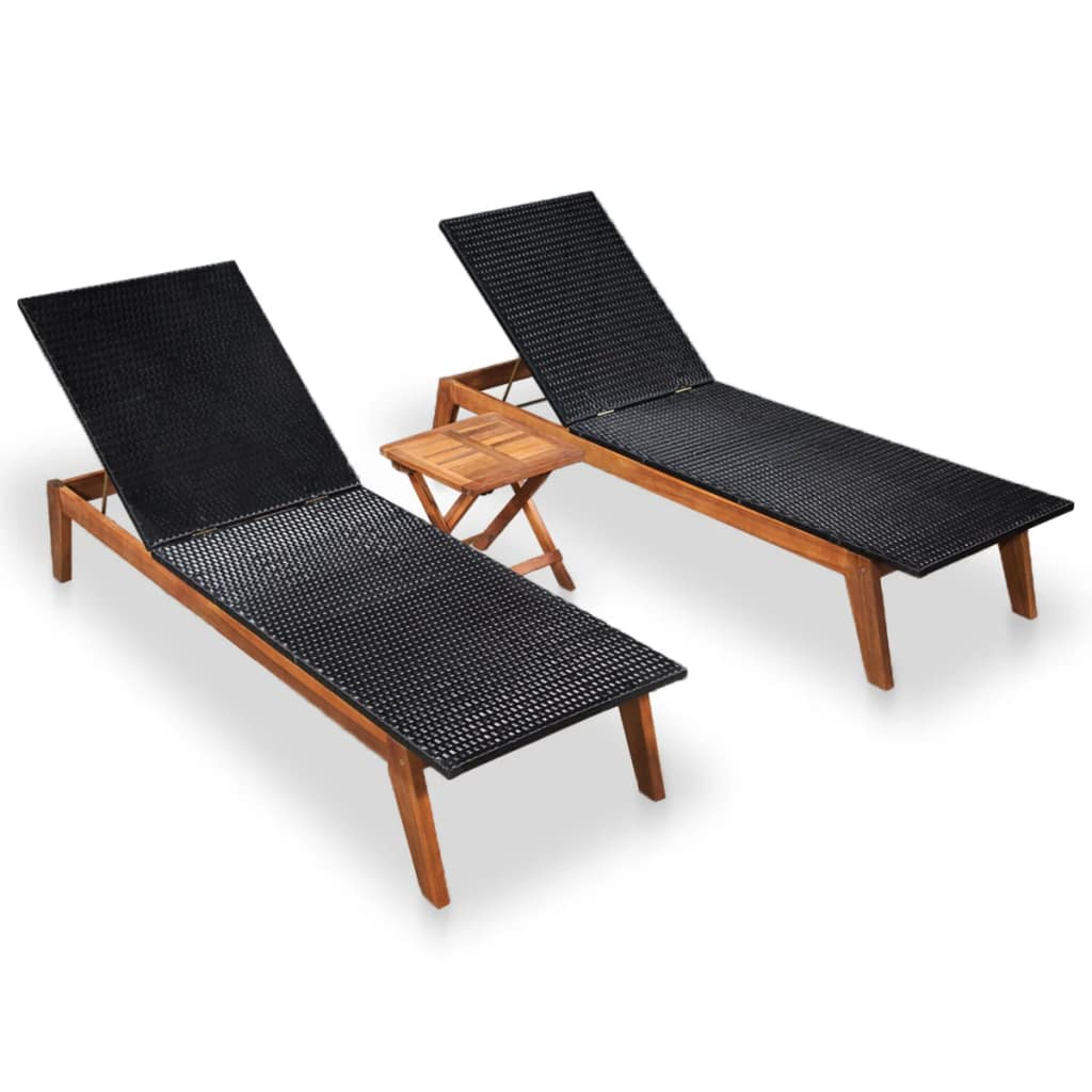 Sun Loungers 2 pcs with Table Poly Rattan and Solid Acacia Wood