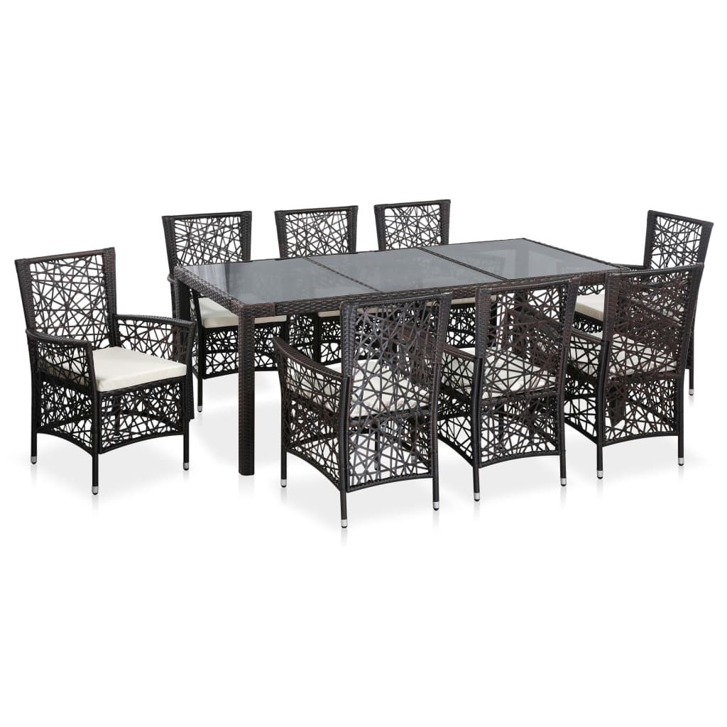 9 Piece Outdoor Dining Set Poly Rattan Brown