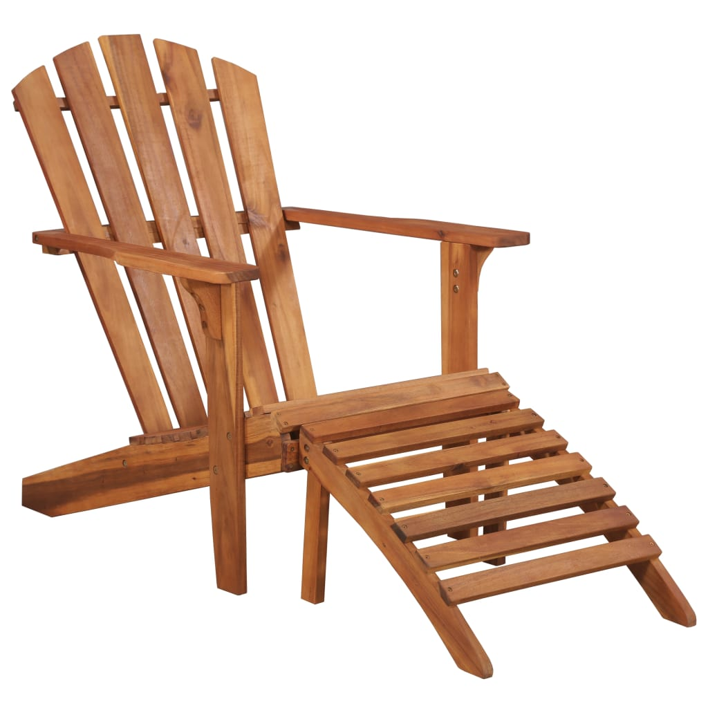 Garden Adirondack Chair with Footrest Solid Acacia Wood