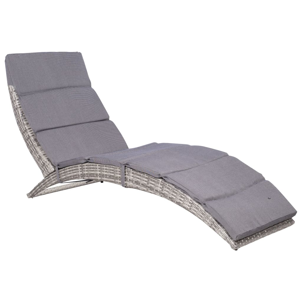 Folding Sun Lounger with Cushion Poly Rattan Grey