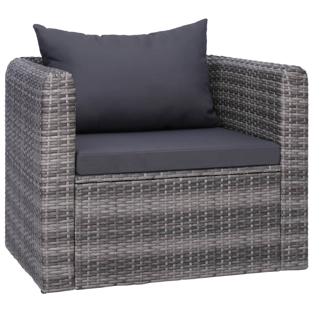 Garden Chair with Cushion and Pillow Poly Rattan Grey