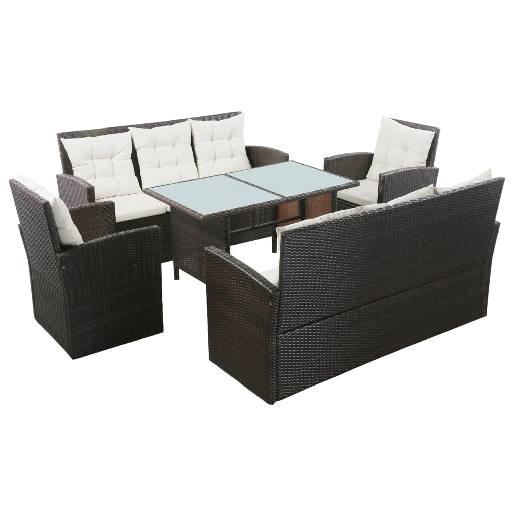 5 Piece Garden Lounge Set with Cushions Poly Rattan Brown