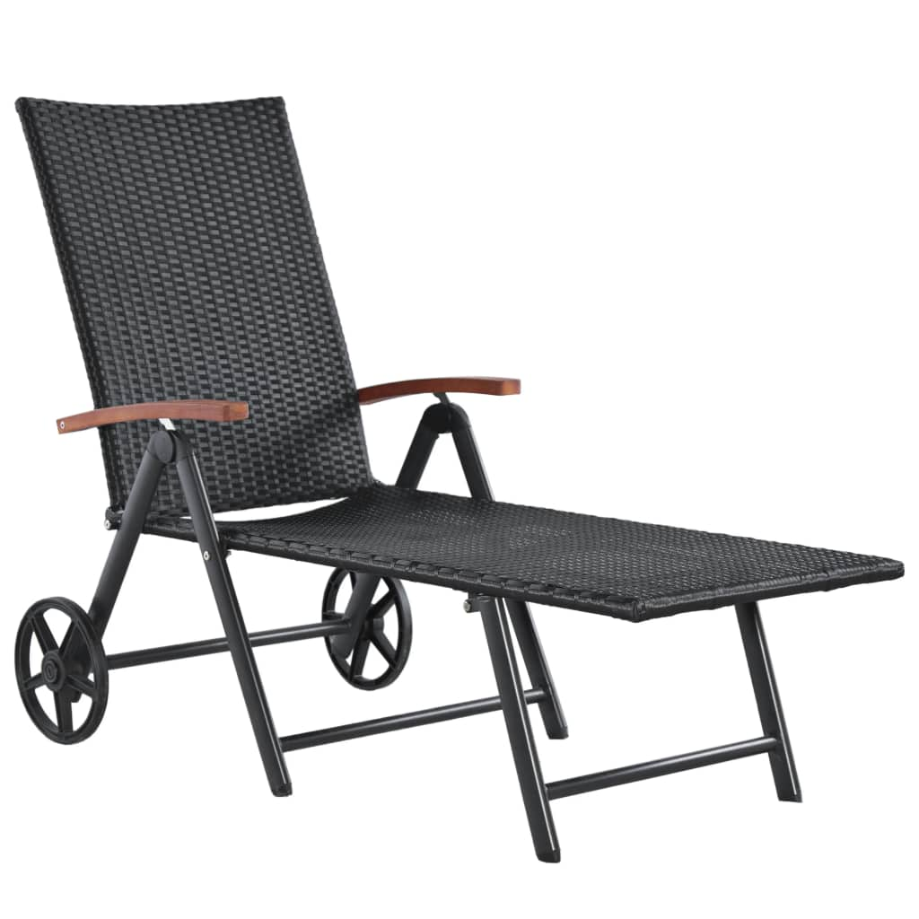 Sun Lounger with Wheels Poly Rattan Black 1