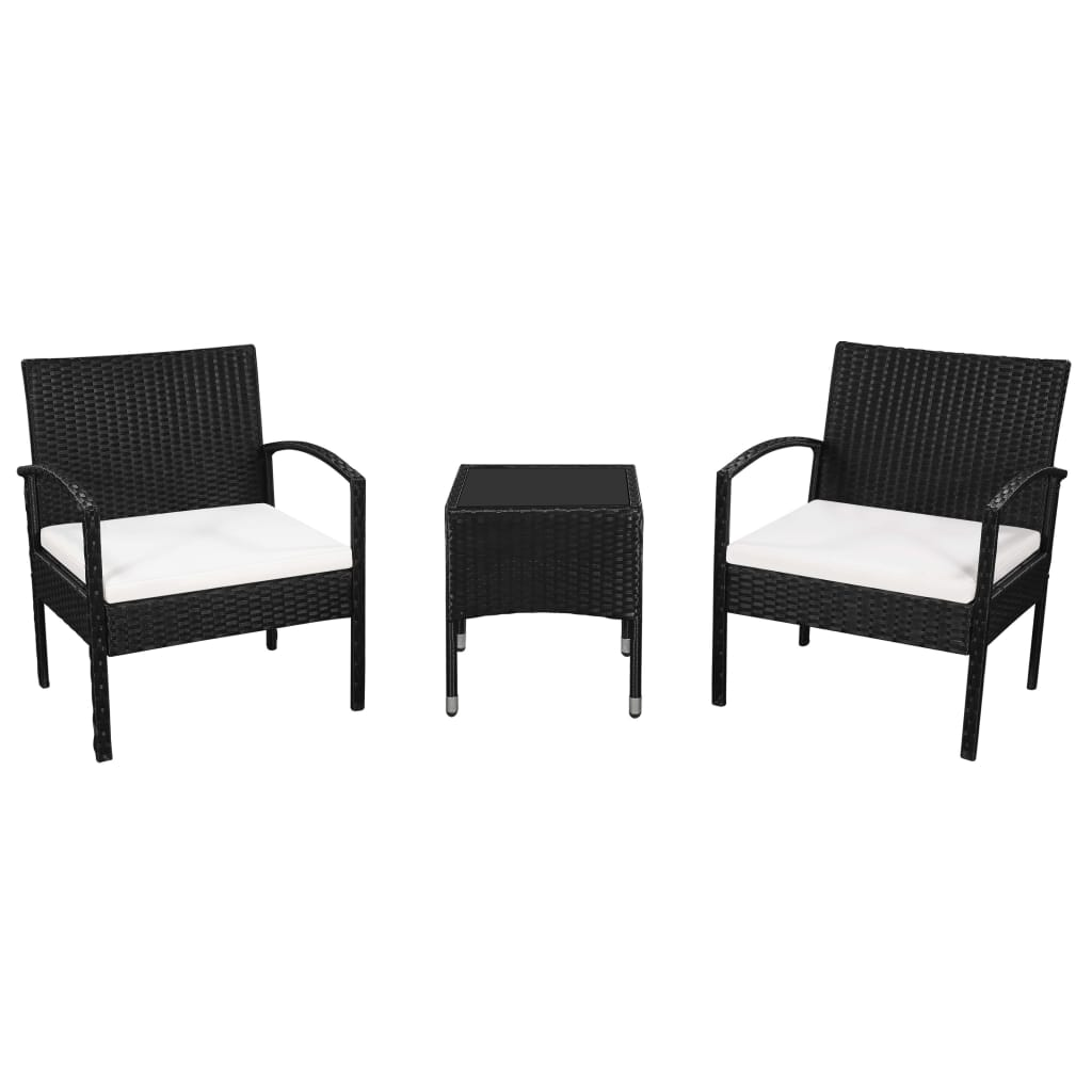 3 Piece Bistro Set with Cushions Poly Rattan Black