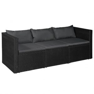 3 Seater Garden Sofa Black Poly Rattan with Grey Cushions