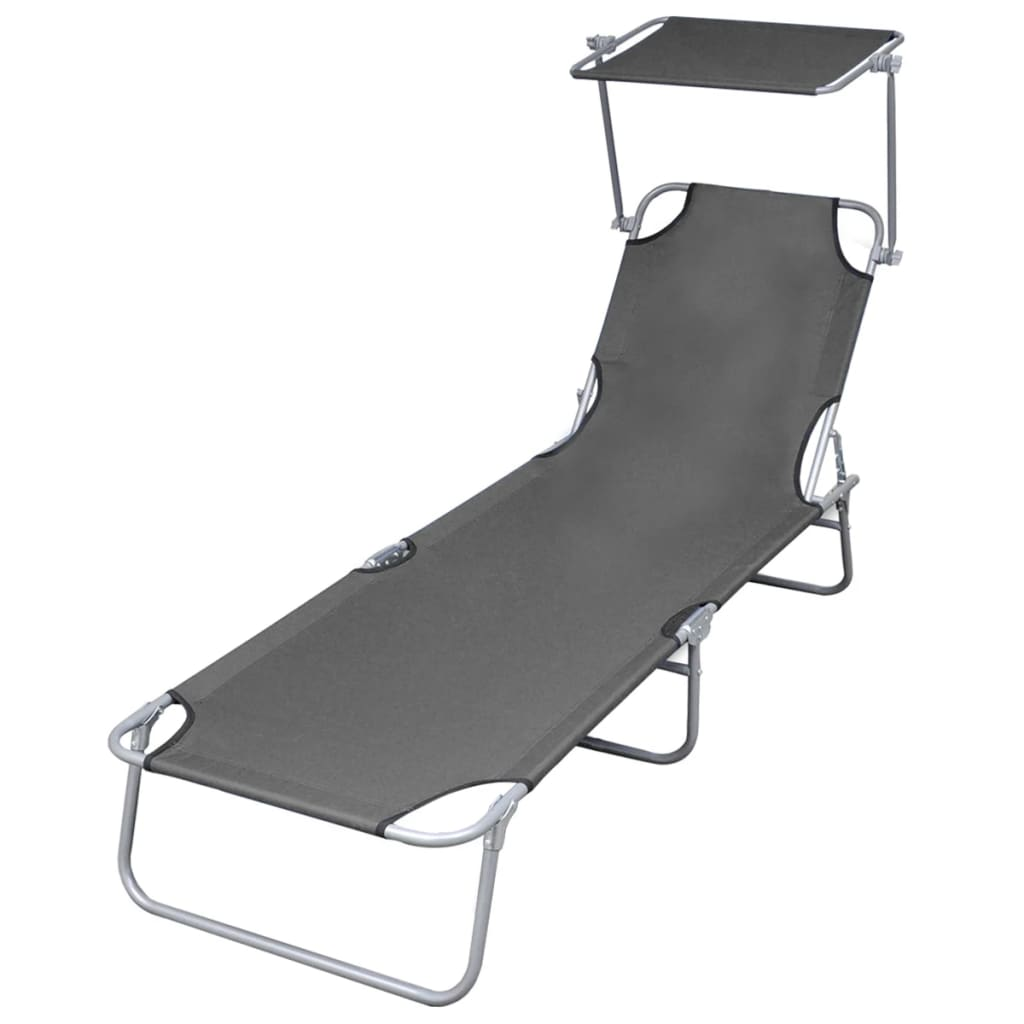 Folding Sun Lounger with Canopy Steel Grey