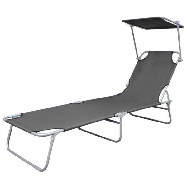Folding Sun Lounger with Canopy Steel Grey 2