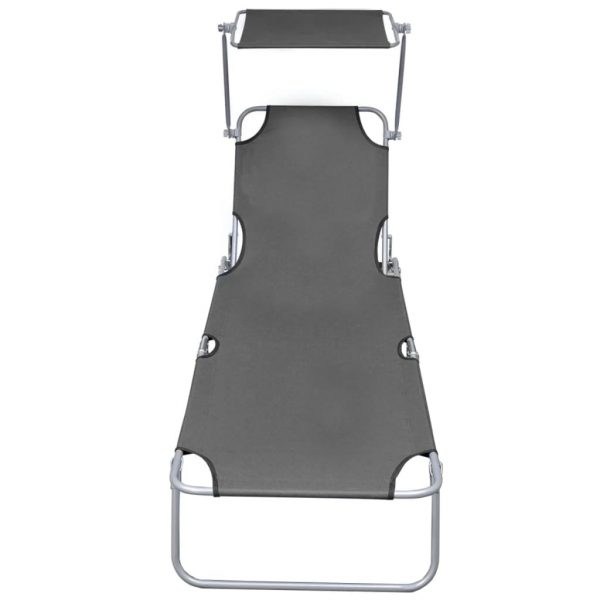 Folding Sun Lounger with Canopy Steel Grey 3