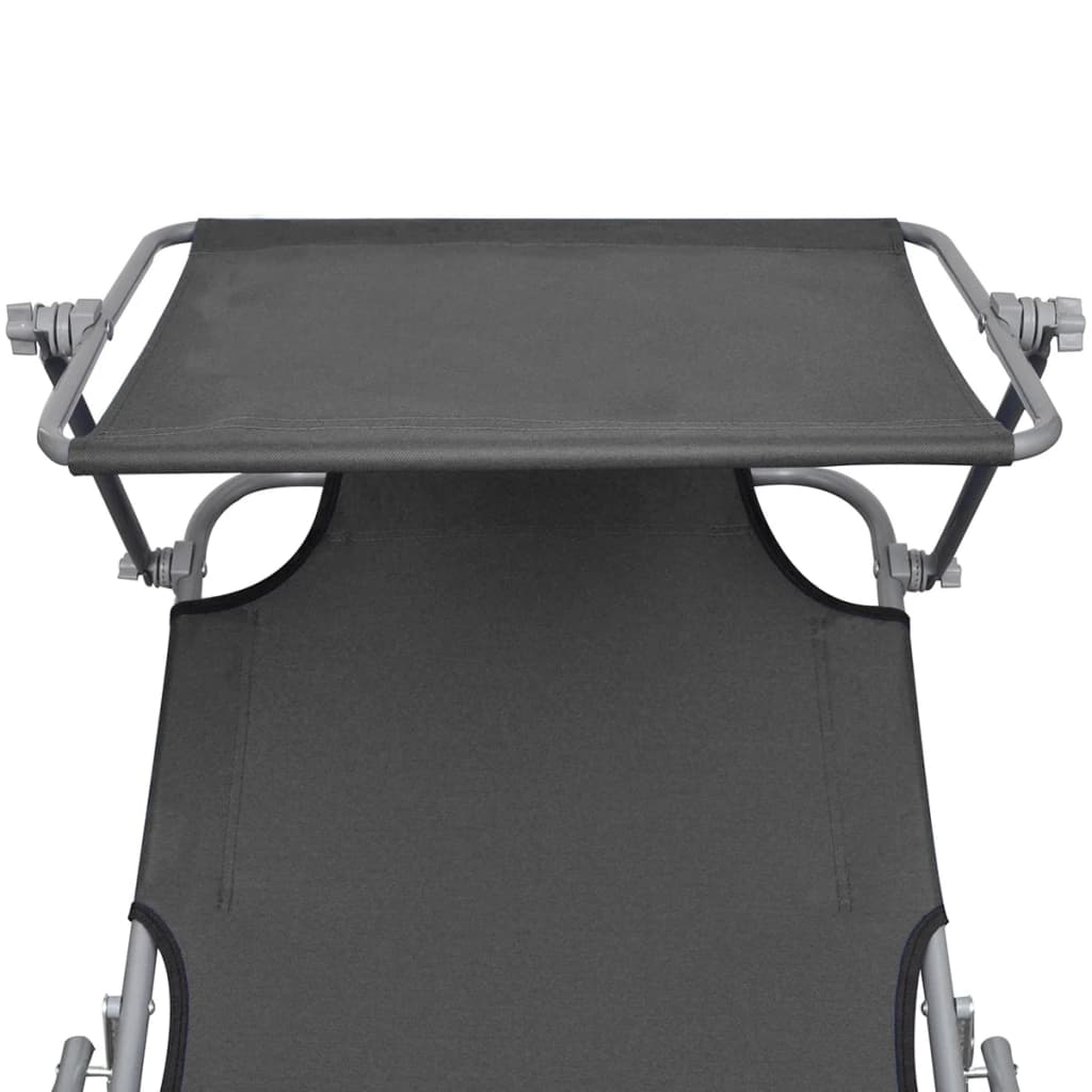 Folding Sun Lounger with Canopy Steel Grey 4