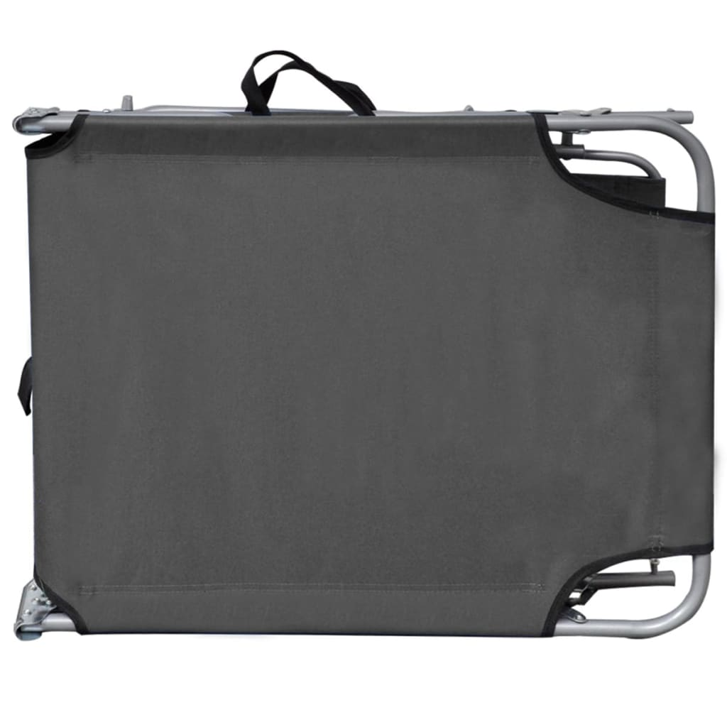 Folding Sun Lounger with Canopy Steel Grey 5
