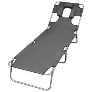 Foldable Sunlounger with Head Cushion Adjustable Backrest Grey