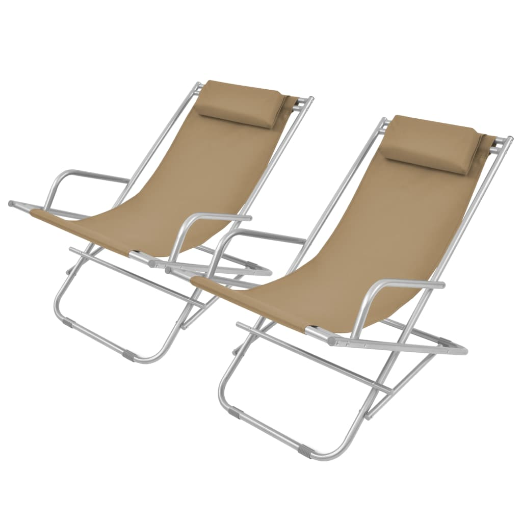 Reclining Deck Chairs 2 pcs Steel Taupe