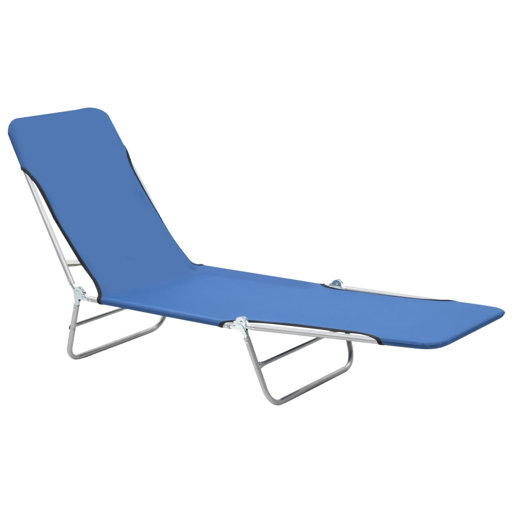 Folding Sun Loungers 2 pcs Steel and Fabric Blue 3