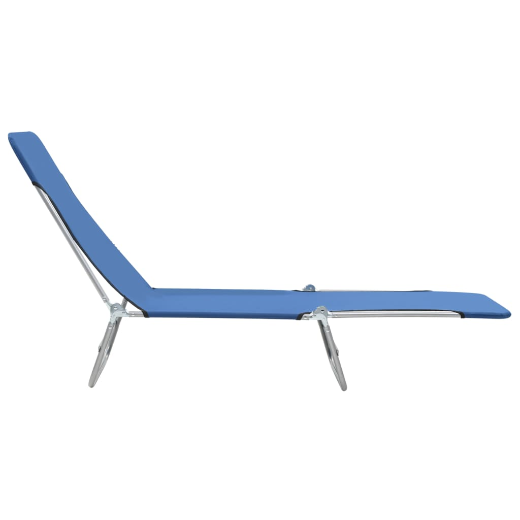 Folding Sun Loungers 2 pcs Steel and Fabric Blue 6