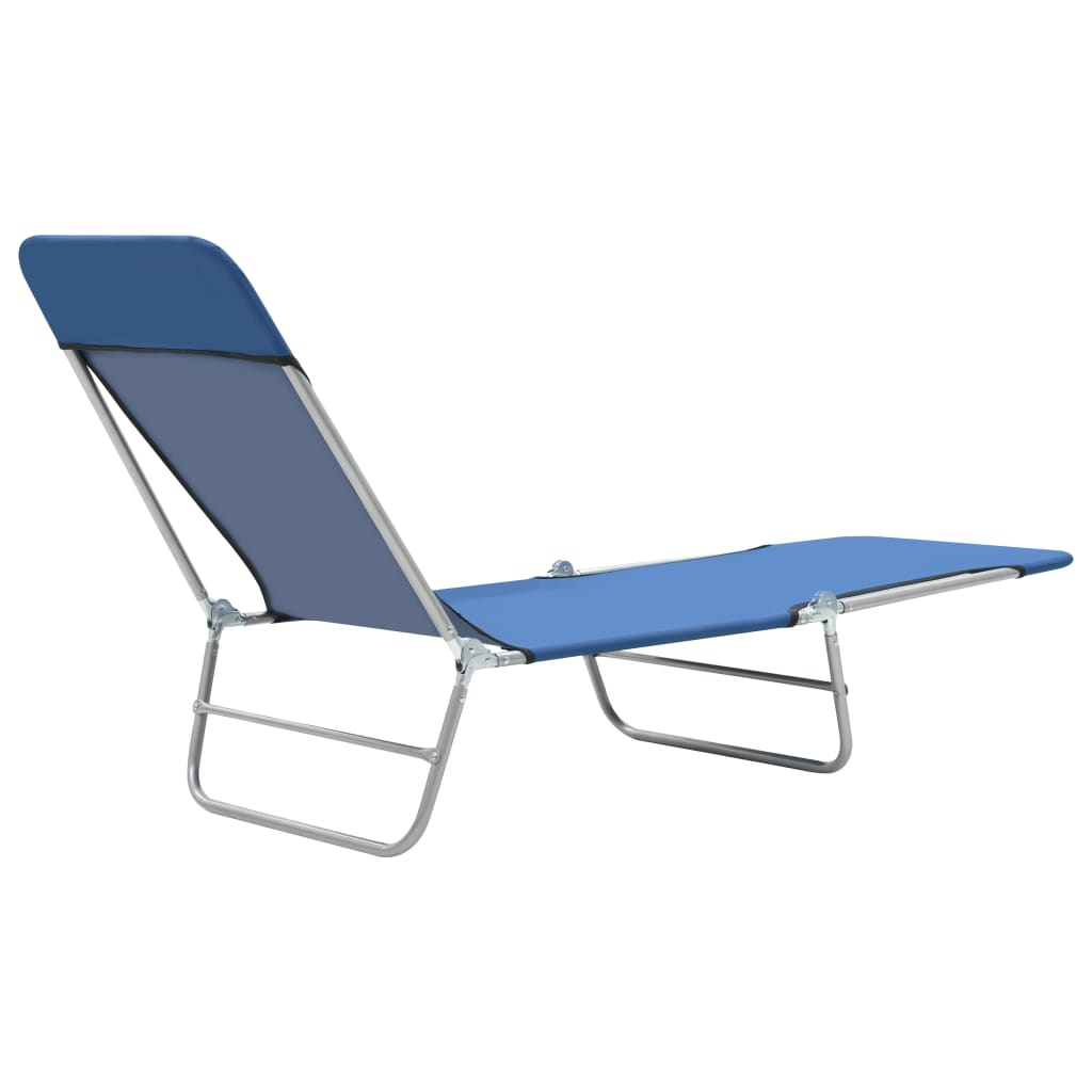Folding Sun Loungers 2 pcs Steel and Fabric Blue 7