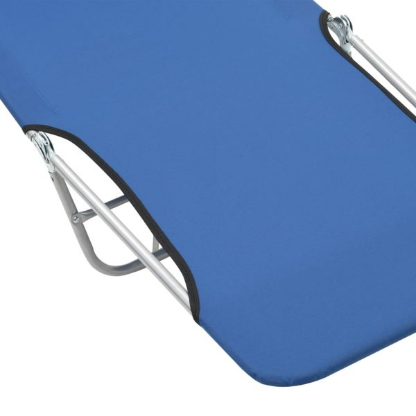 Folding Sun Loungers 2 pcs Steel and Fabric Blue 9