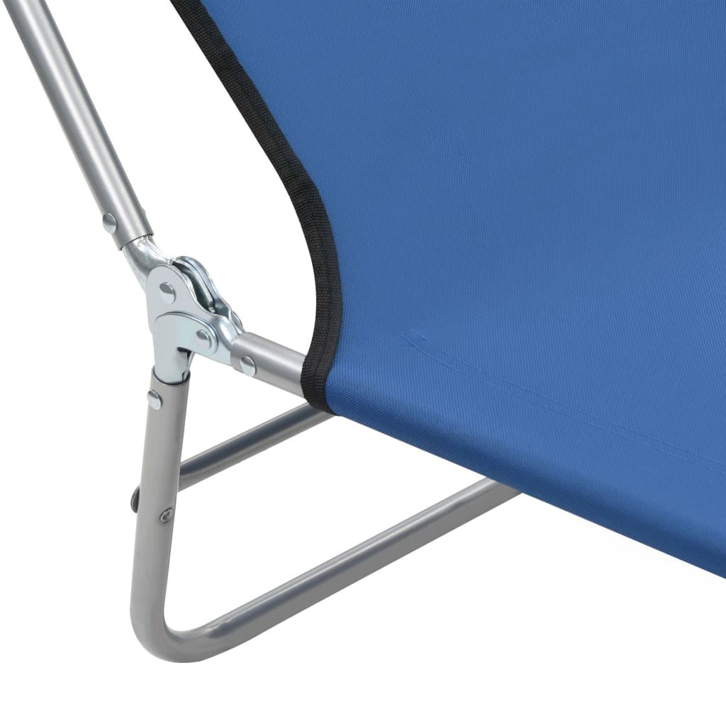 Folding Sun Loungers 2 pcs Steel and Fabric Blue 10