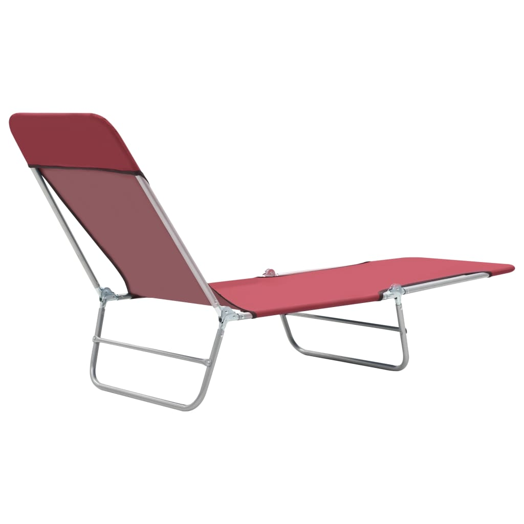 Folding Sun Loungers 2 pcs Steel and Fabric Red 6
