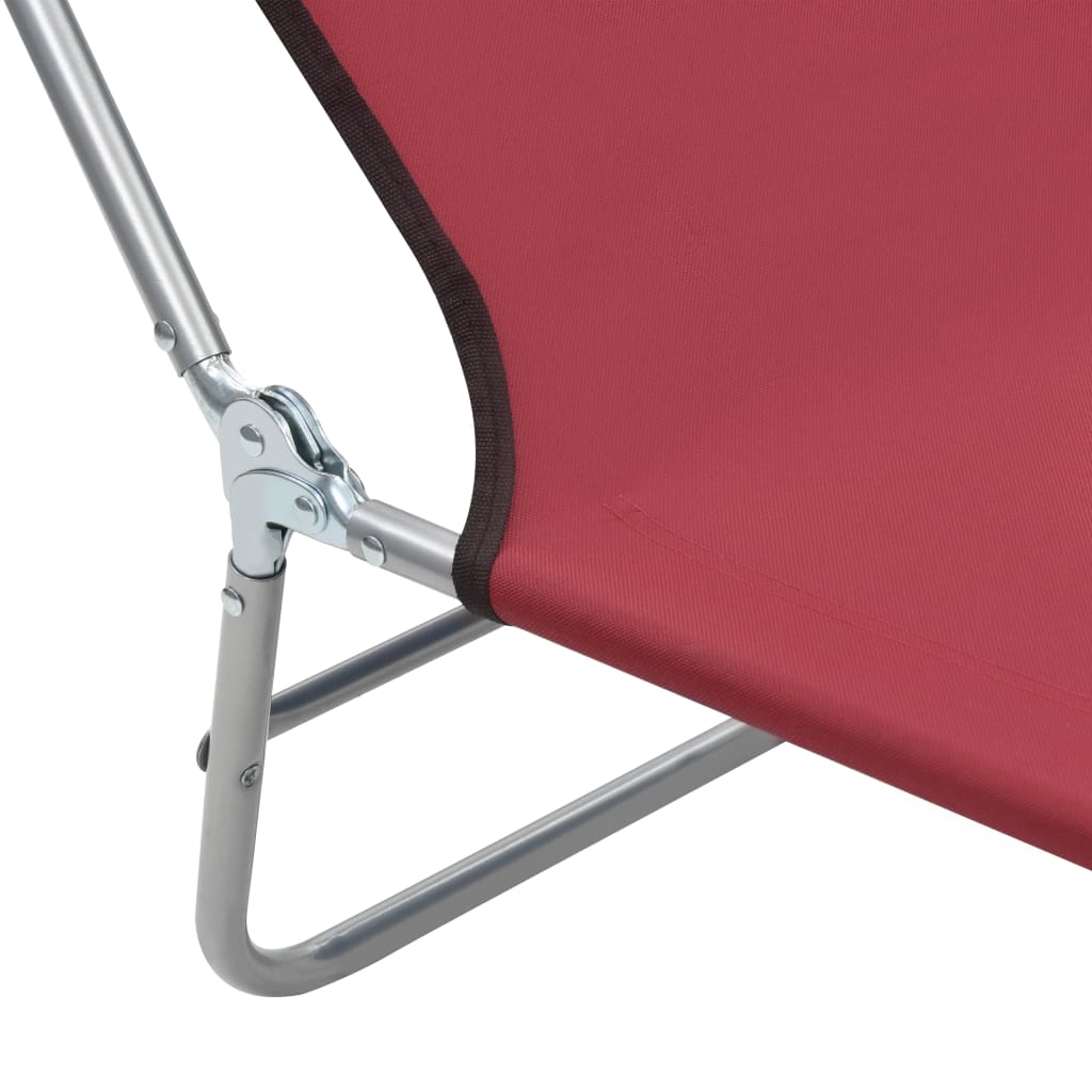 Folding Sun Loungers 2 pcs Steel and Fabric Red 9