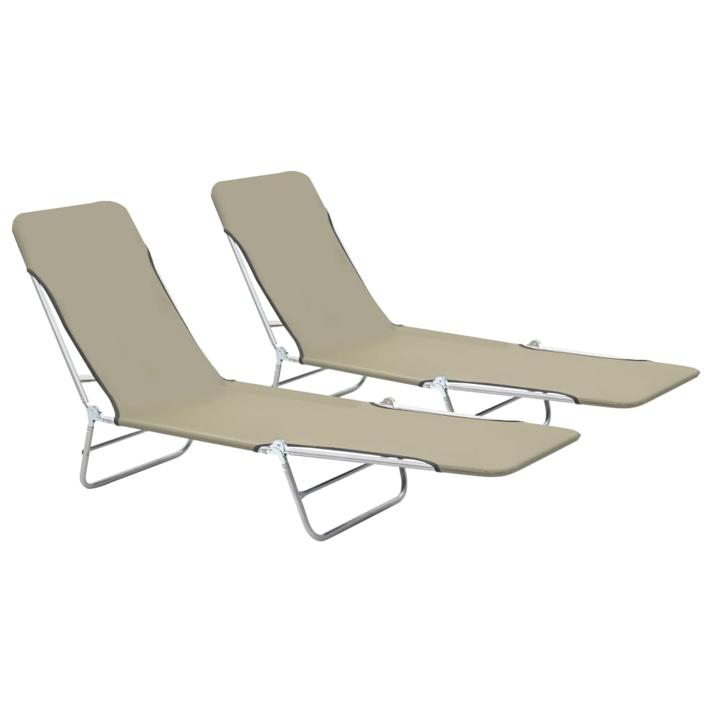 Folding Sun Loungers 2 pcs Steel and Fabric Taupe