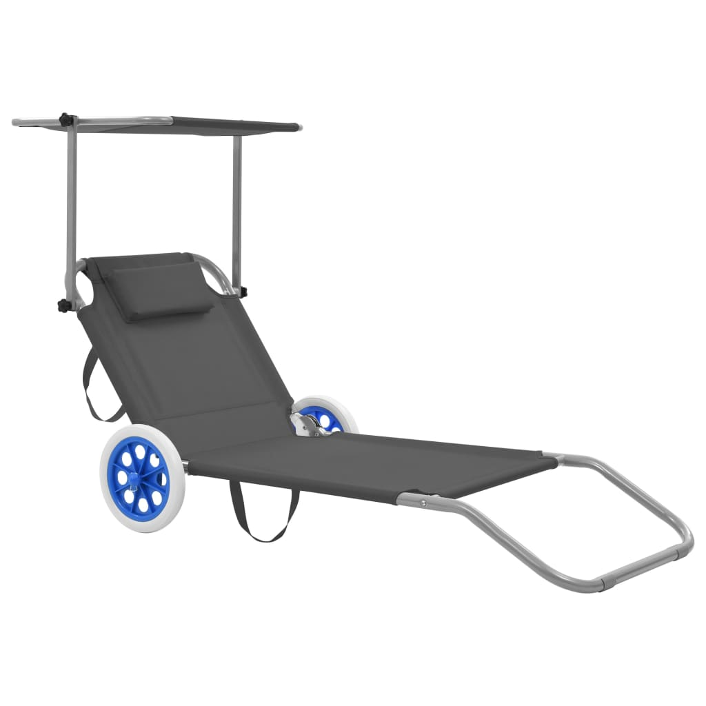 Folding Sun Lounger with Canopy and Wheels Steel Grey