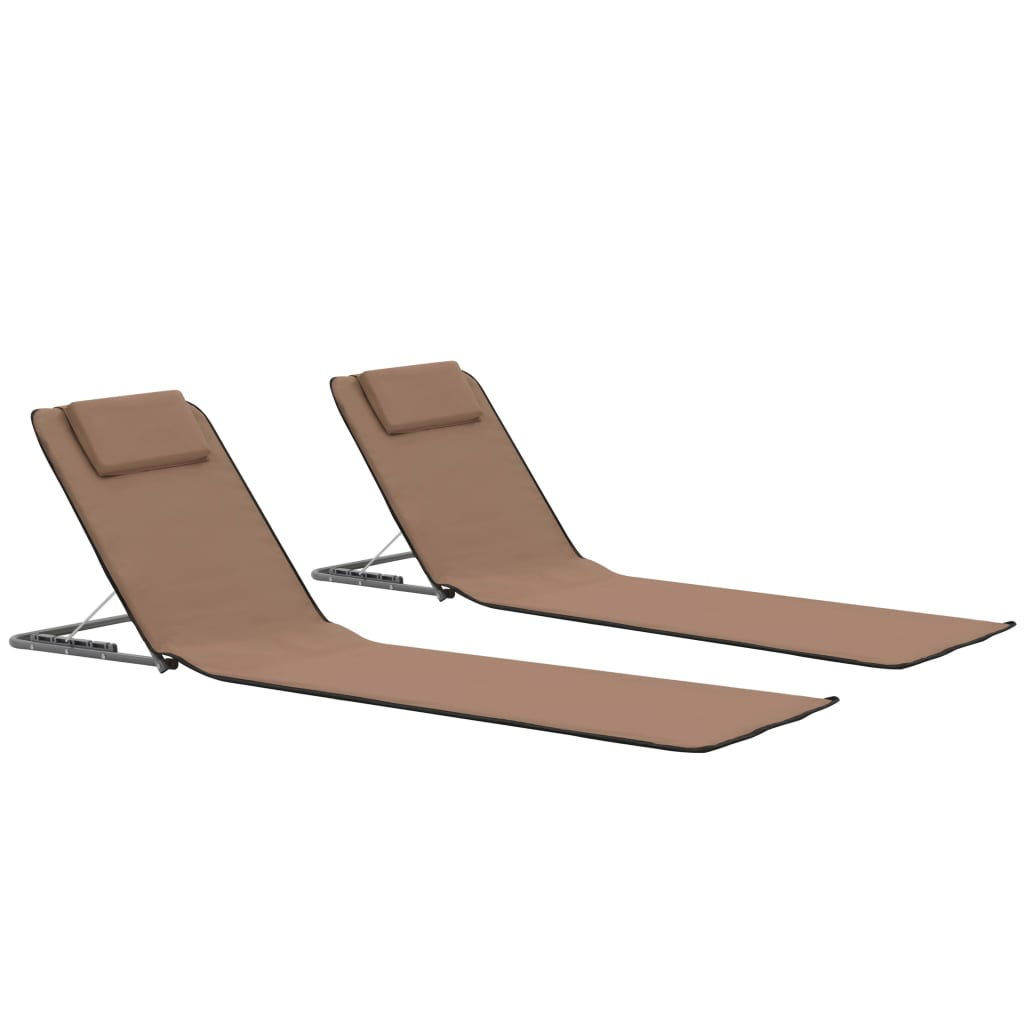 Folding Beach Mats 2 pcs Steel and Fabric Brown
