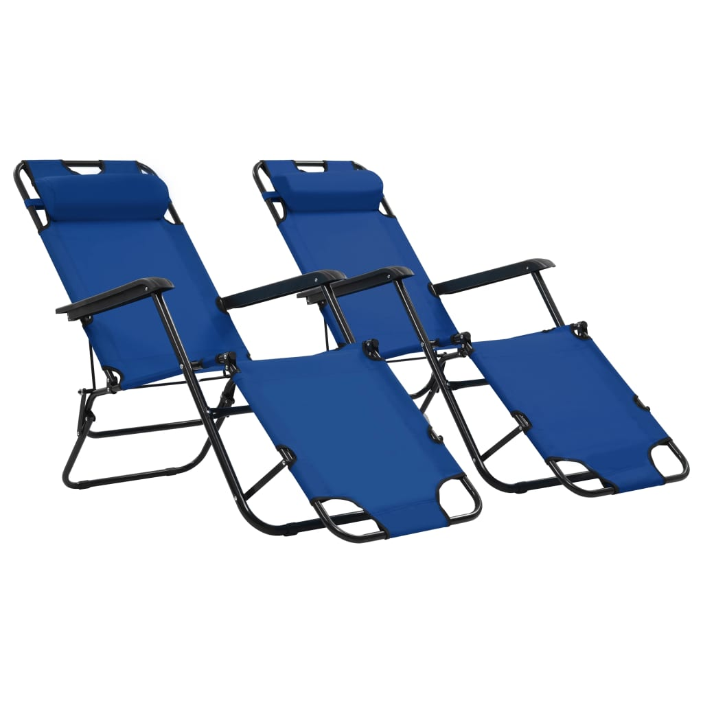 Folding Sun Loungers 2 pcs with Footrests Steel Blue