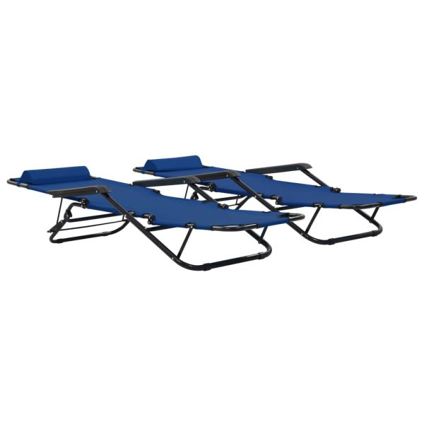 Folding Sun Loungers 2 pcs with Footrests Steel Blue 2