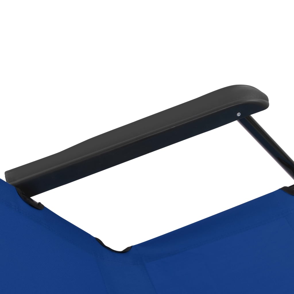 Folding Sun Loungers 2 pcs with Footrests Steel Blue 11