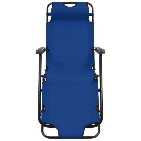 Folding Sun Loungers 2 pcs with Footrests Steel Blue 3