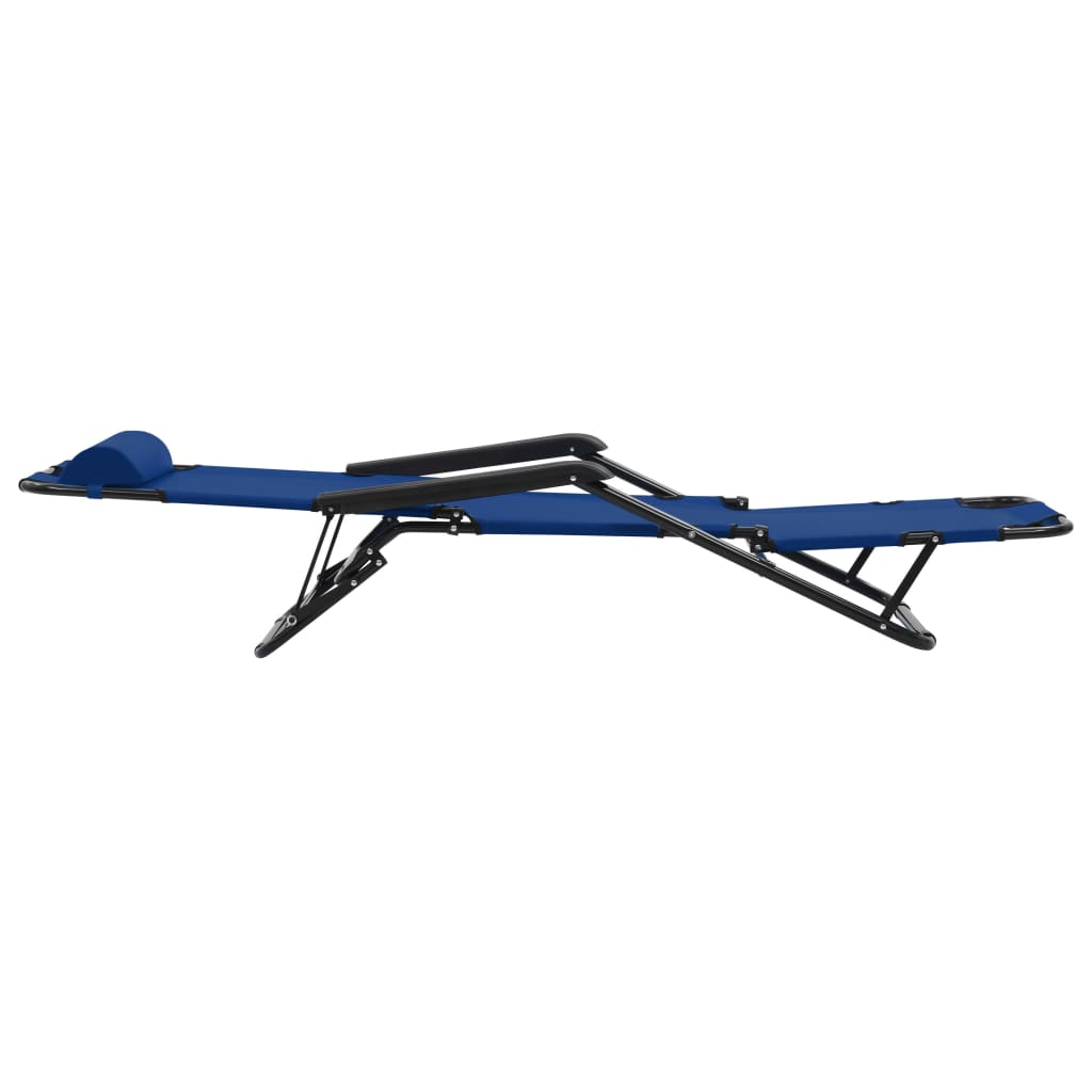 Folding Sun Loungers 2 pcs with Footrests Steel Blue 6