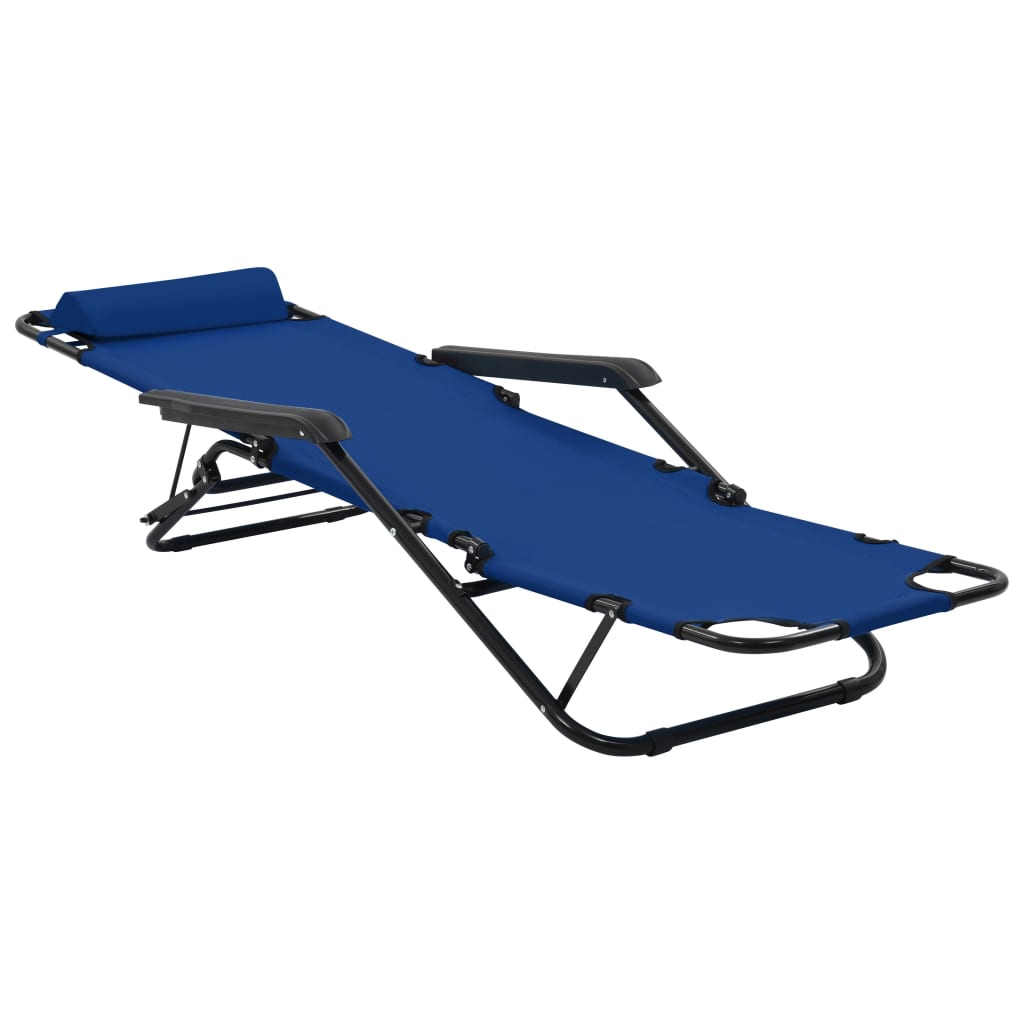 Folding Sun Loungers 2 pcs with Footrests Steel Blue 7