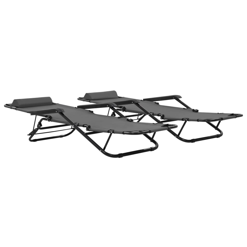 Folding Sun Loungers 2 pcs with Footrests Steel Grey 2