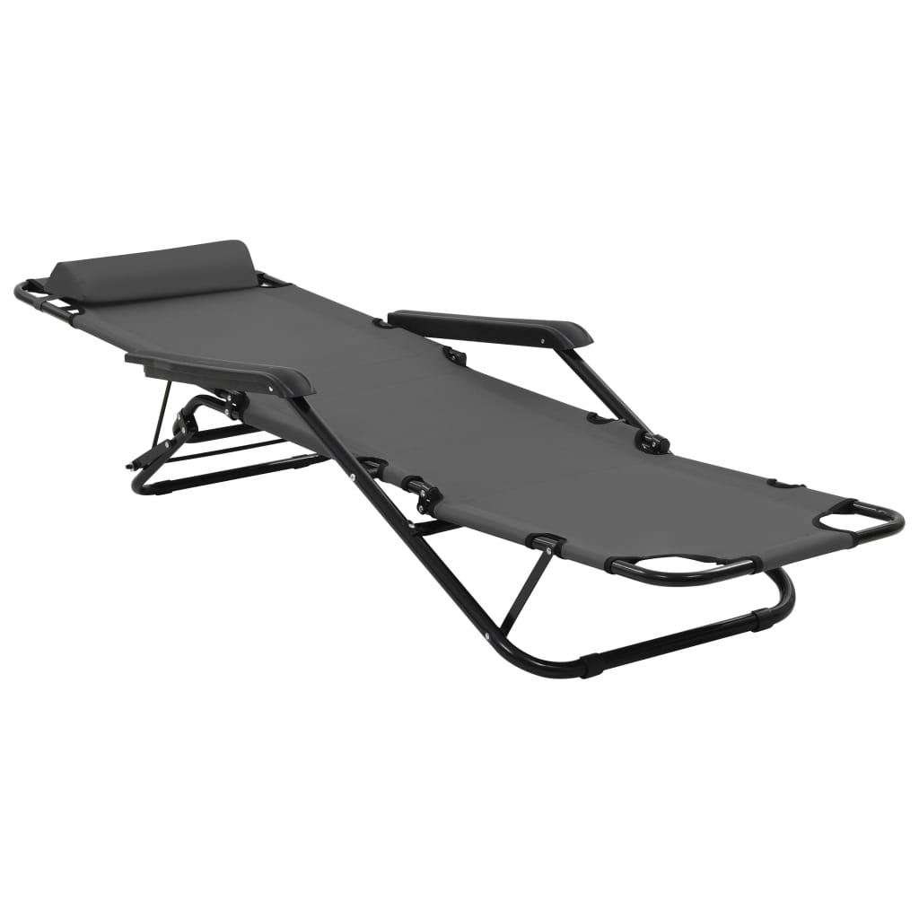 Folding Sun Loungers 2 pcs with Footrests Steel Grey 7