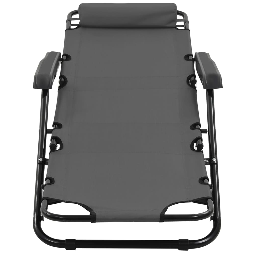 Folding Sun Loungers 2 pcs with Footrests Steel Grey 9