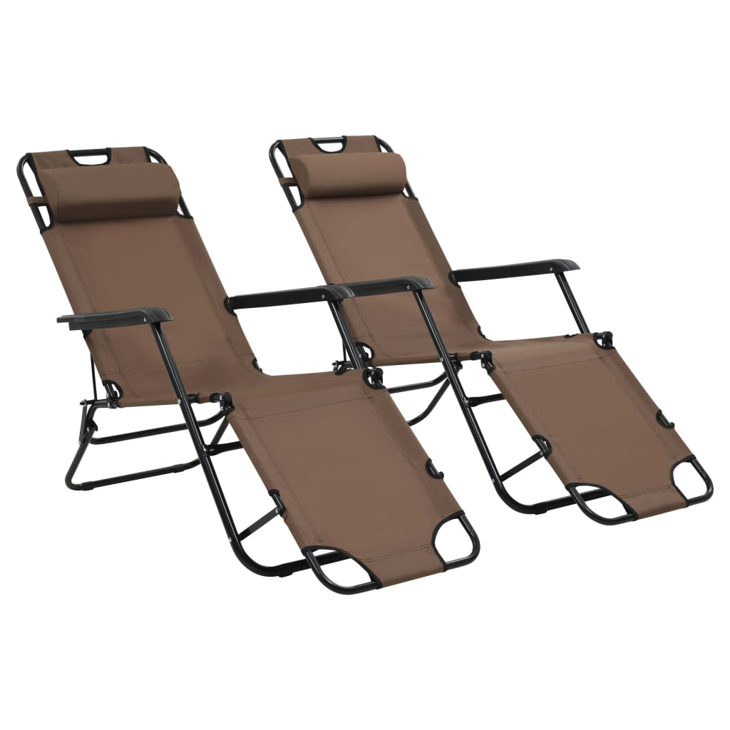 Folding Sun Loungers 2 pcs with Footrests Steel Brown