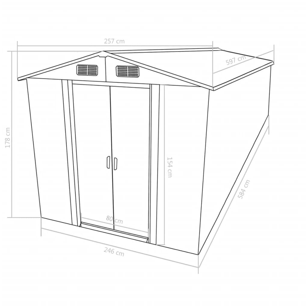 Garden Shed 257x597x178 cm Metal Anthracite 9