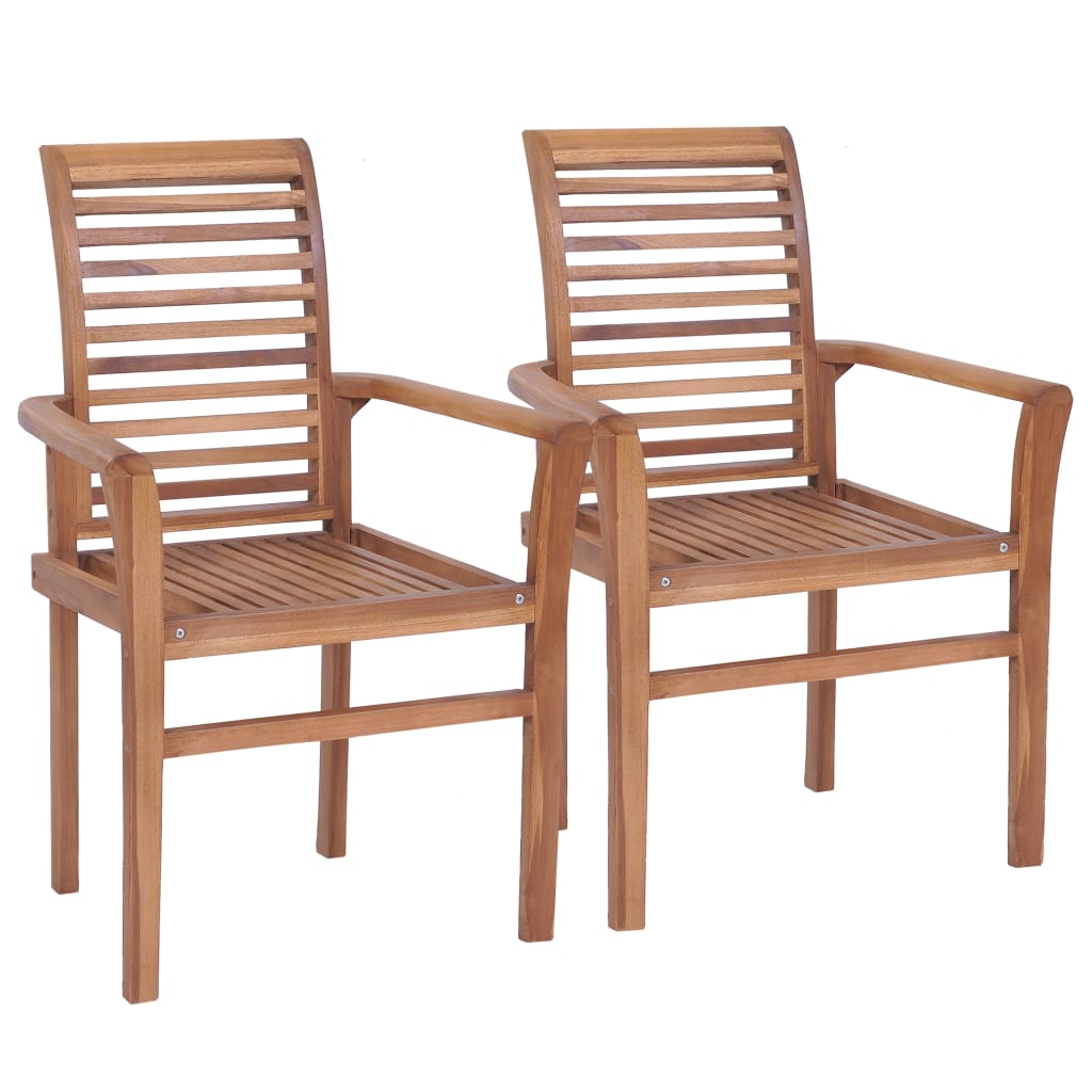 Stacking Dining Chairs 2 pcs Solid Teak