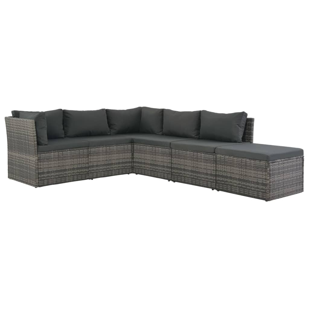 4 Piece Garden Lounge Set with Cushions Poly Rattan Grey 4