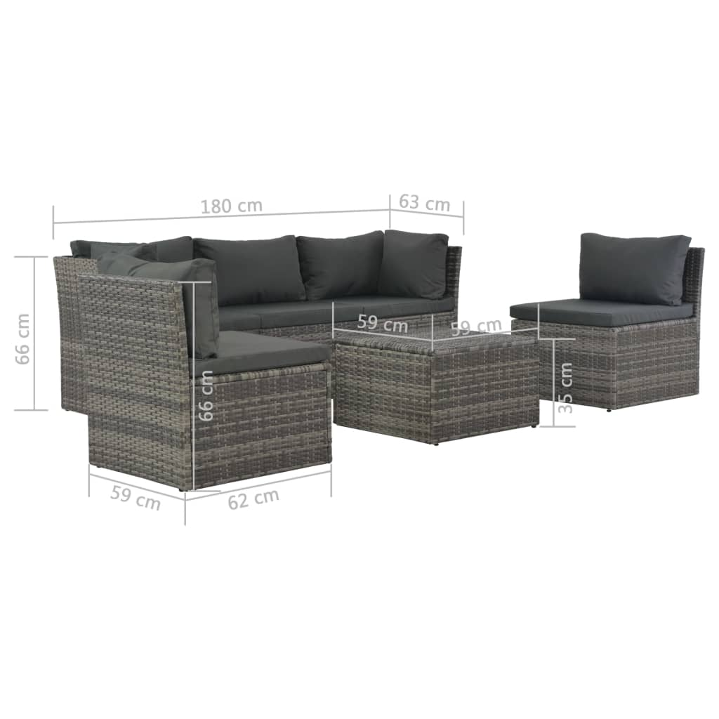 4 Piece Garden Lounge Set with Cushions Poly Rattan Grey 7