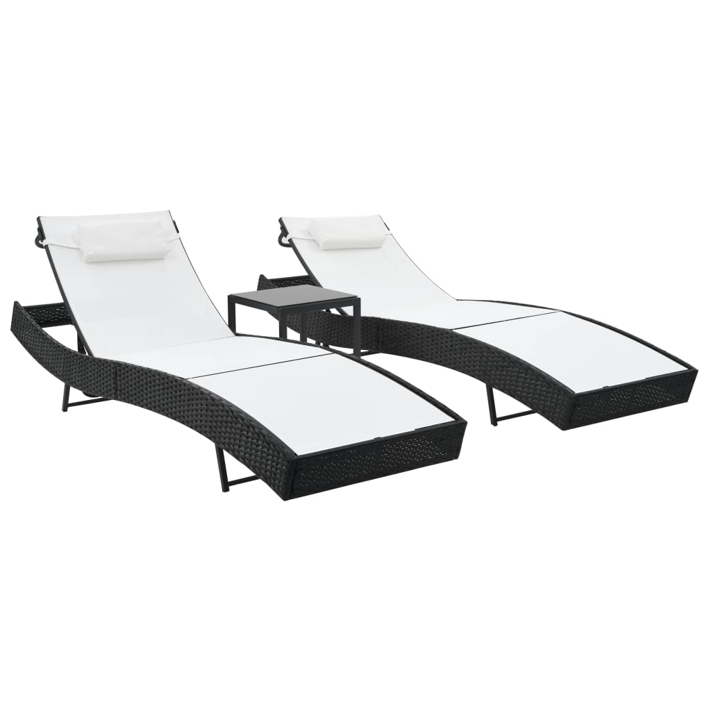 Sun Loungers 2 pcs with Table Poly Rattan and Textilene Black