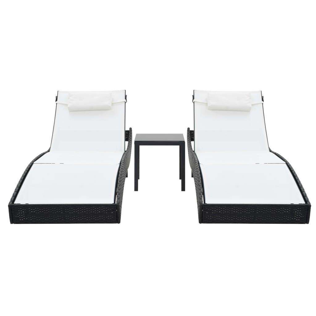 Sun Loungers 2 pcs with Table Poly Rattan and Textilene Black 2