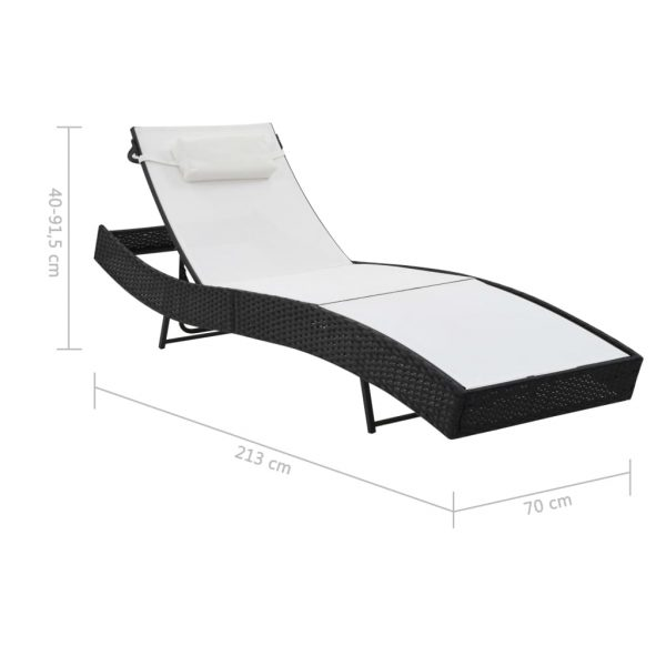 Sun Loungers 2 pcs with Table Poly Rattan and Textilene Black 9