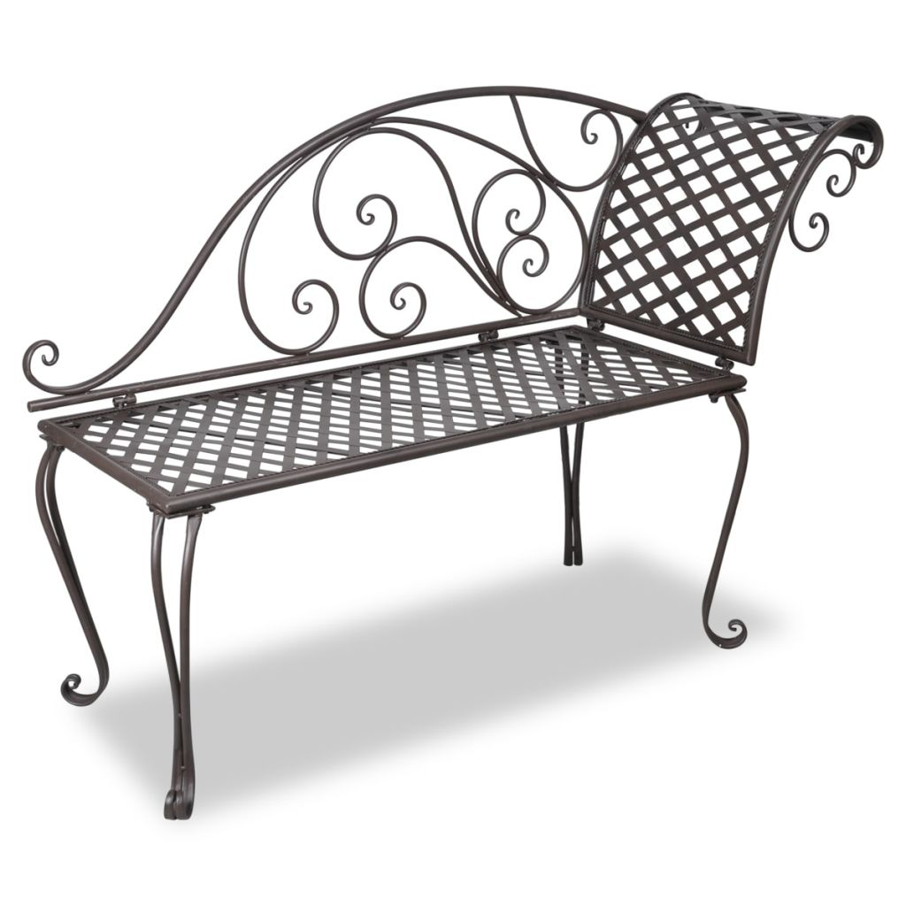 Garden Chaise Lounge 128 cm Steel Antique Brown