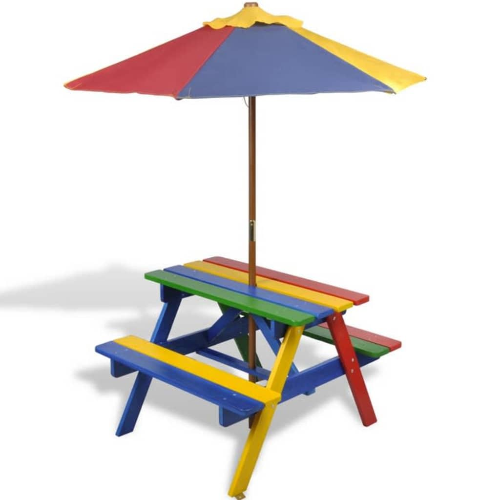 Kids' Picnic Table with Benches and Parasol Multicolour Wood 2
